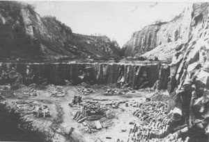 The quarry of Classic Grey Montemerlo Trachyte in 1930